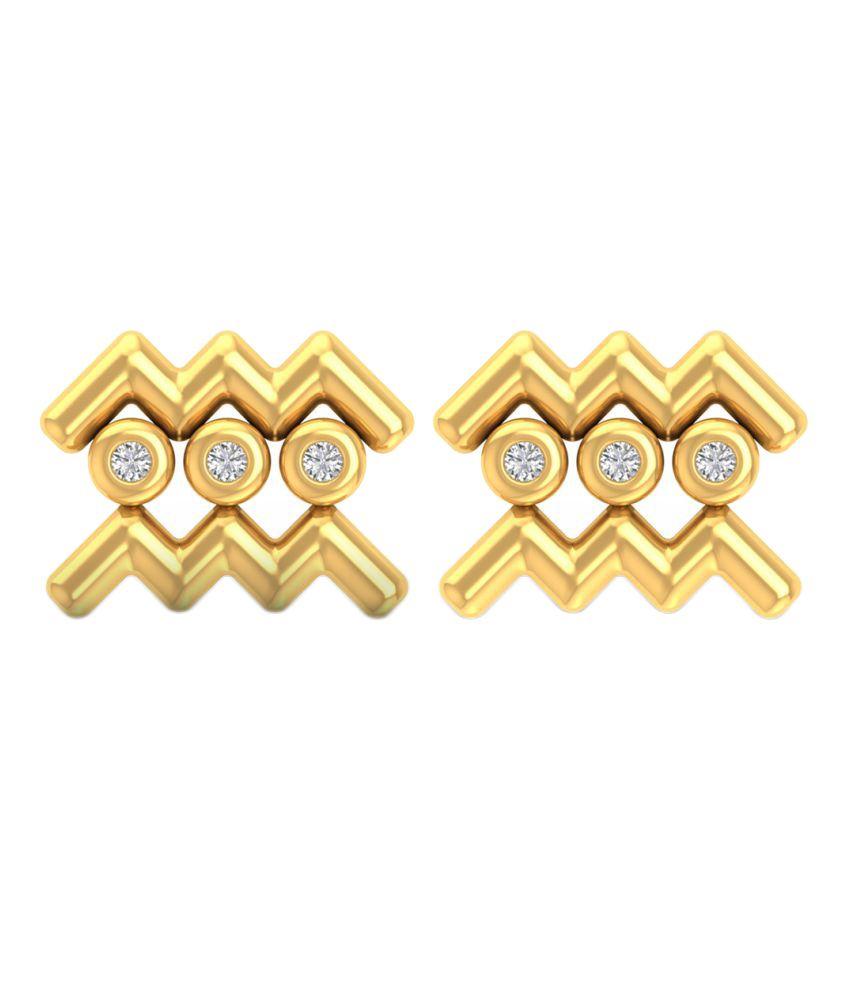 P.N.Gadgil Jewellers 18k BIS Hallmarked Gold Diamond Studs