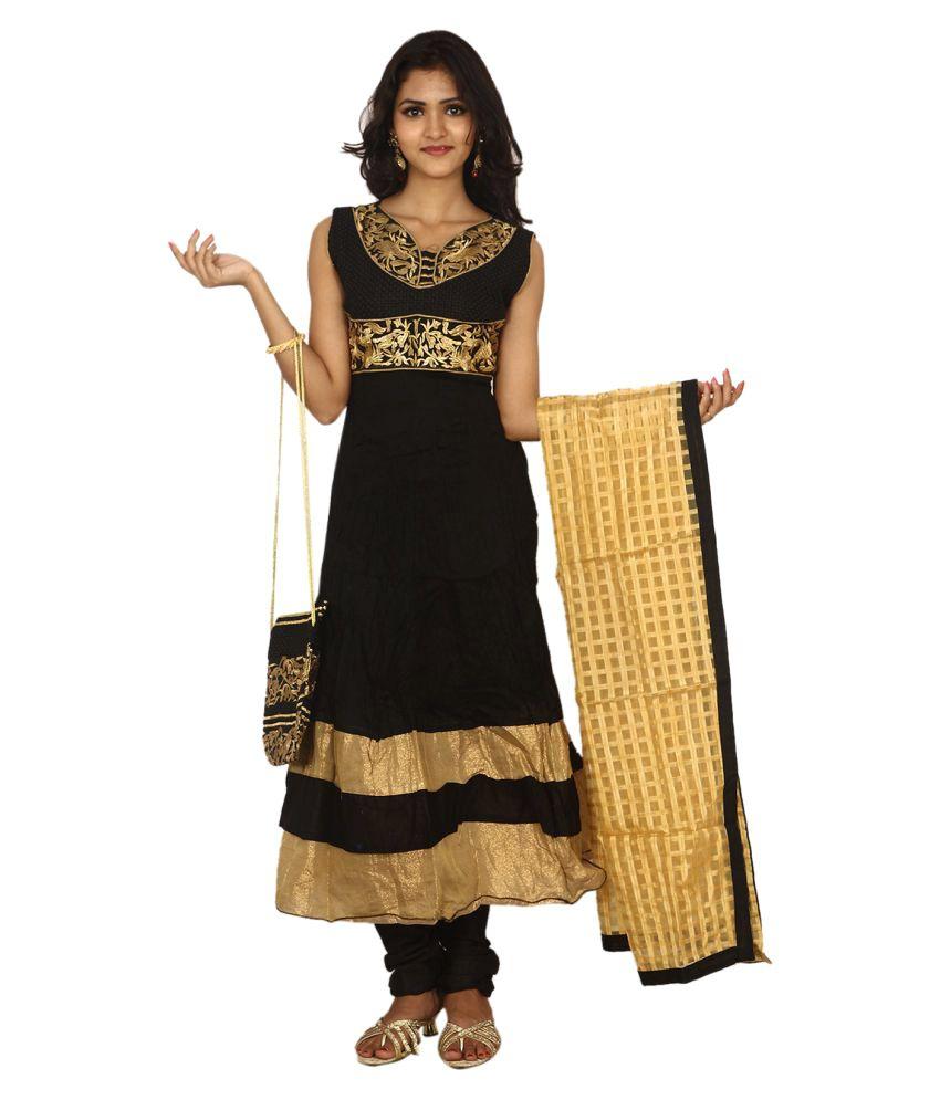 Hita Black Cotton Anarkali Stitched Suit