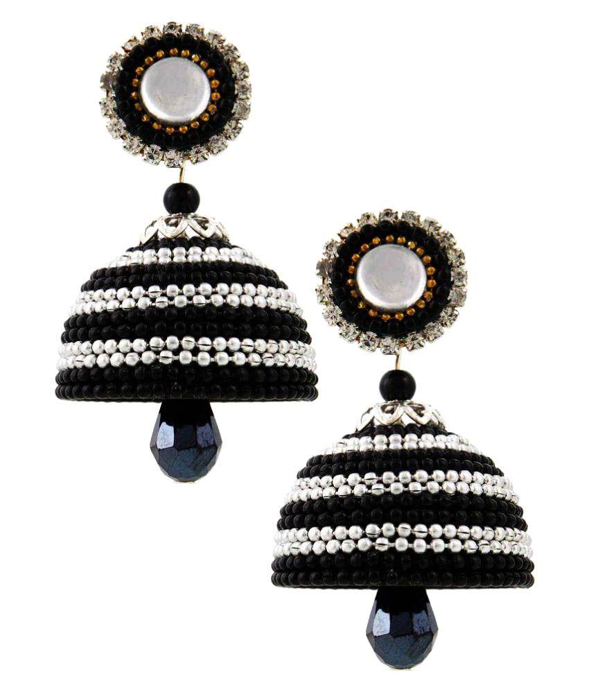 Creative_Studio Designer Black Look Hancrafted Artificial Ball Chain Jhumki