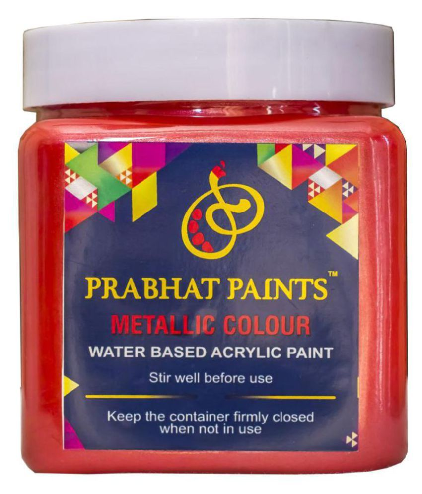 Prabhat Paints Acrylic Metallic / Pearl Colours (1KG, Signal Red) (Water based paint)