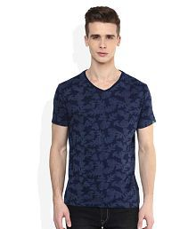 Spykar Blue V-Neck T-Shirt for sale  Delivered anywhere in India