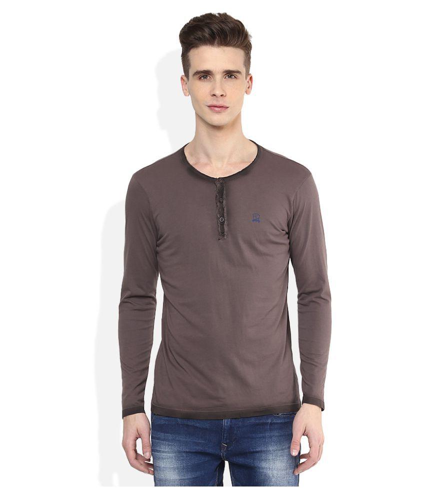 Spykar Grey Henley T-Shirt