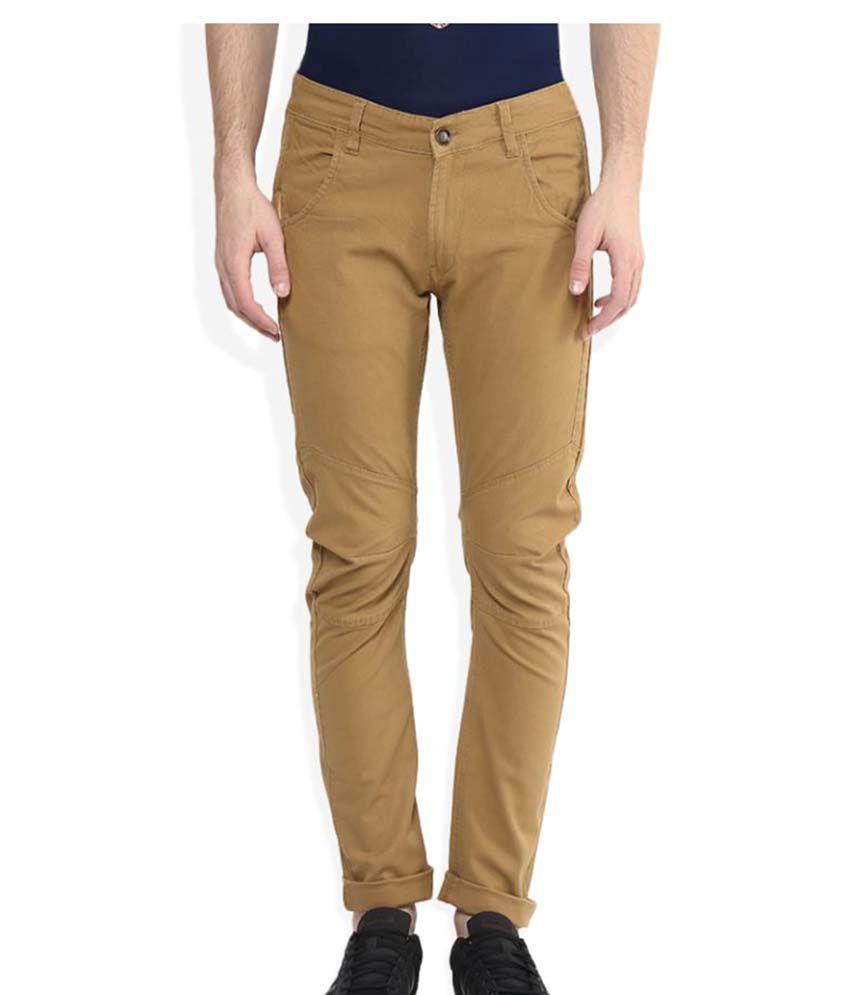 Spykar Khaki Slim Flat Trouser