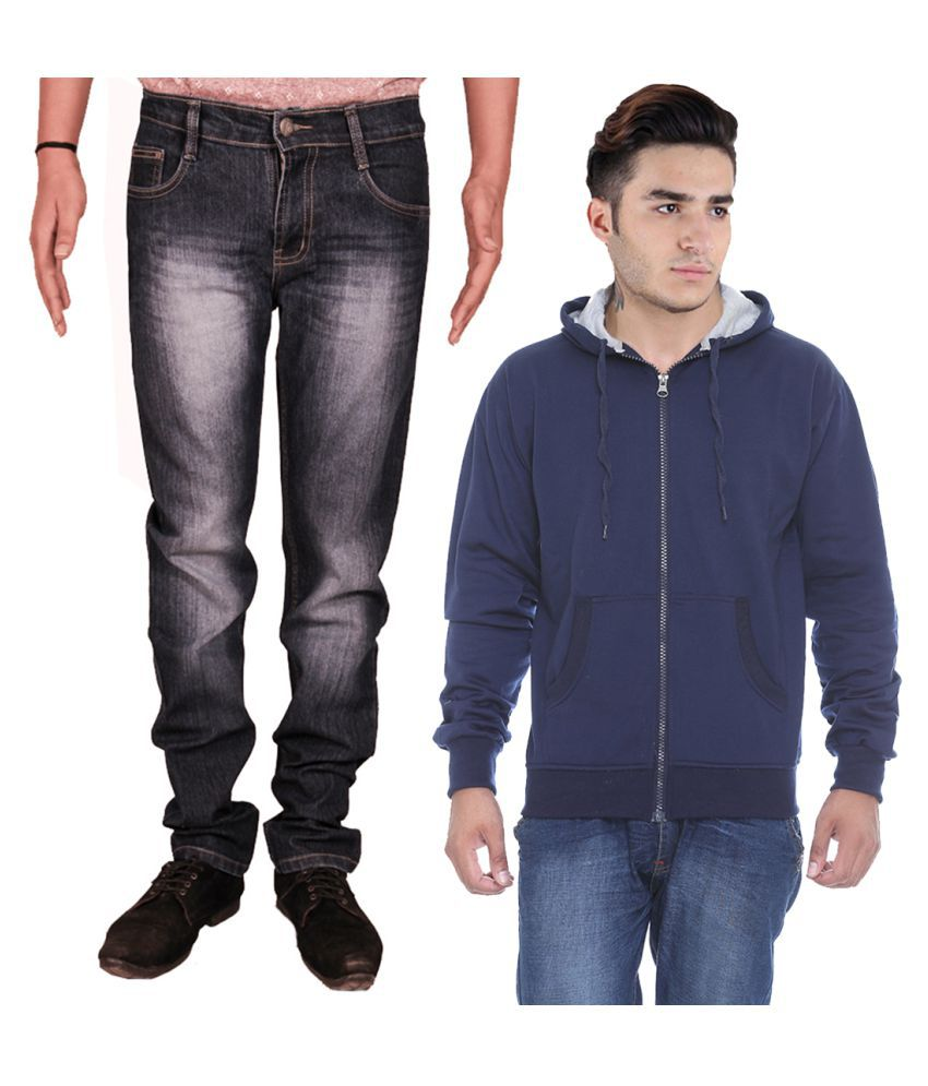 Van Galis Black Slim Faded Jeans with Sweatshirt