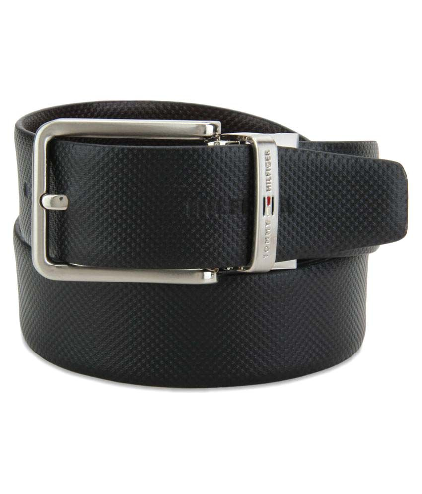 Tommy Hilfiger Black Leather Formal Belts