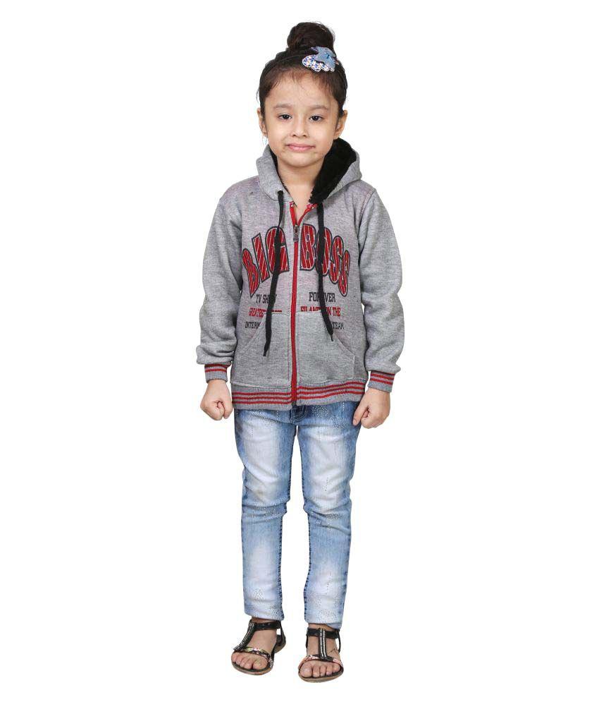Qeboo Grey Wollen Girl's Winter Jacket