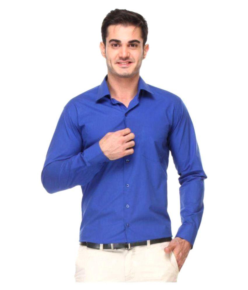 PIXO Blue Formal Slim Fit Shirt