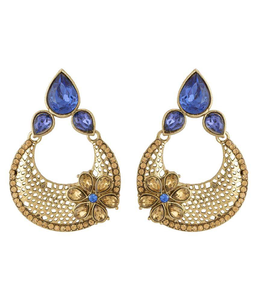 Voylla Blue & Beige Stone Golden Chandelier Earrings
