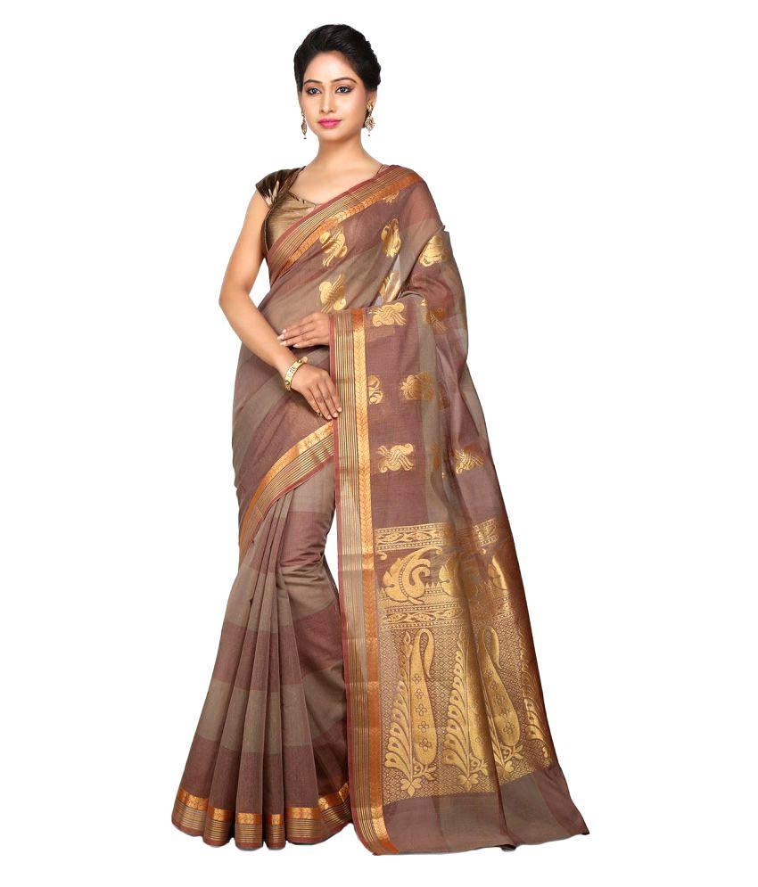 Platinum Brown Cotton Silk Saree