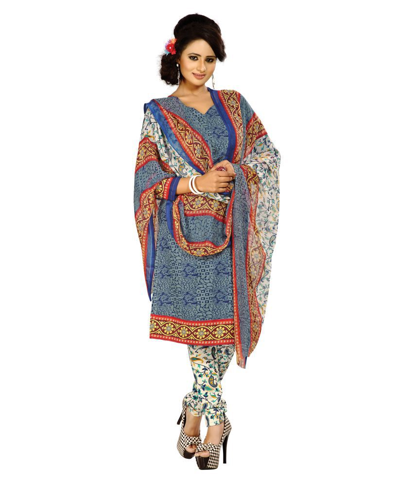 Designer Salwar Suits Multicoloured Crepe Dress Material