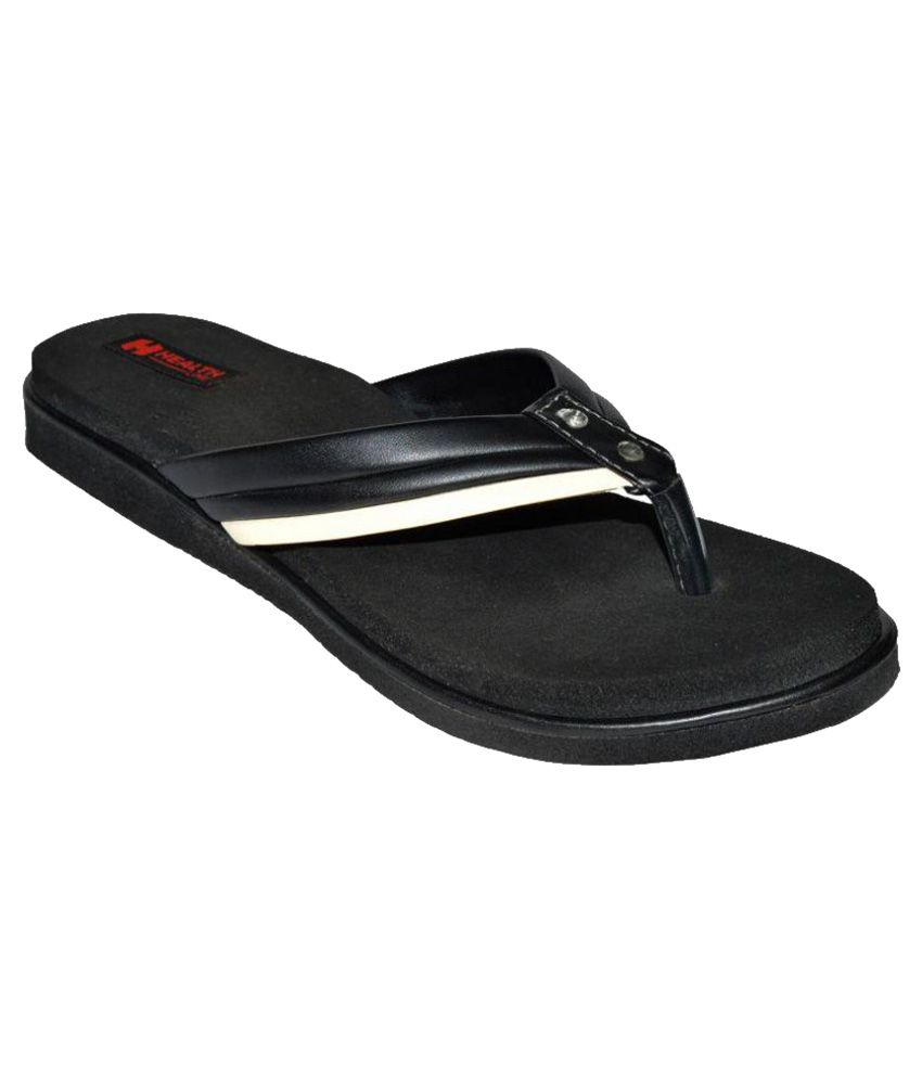 Health Line Black Slippers