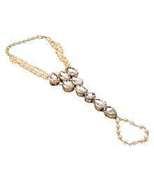 Sanjog Designer Golden Brass Ring Bracelet/Bangle For Girls/Women
