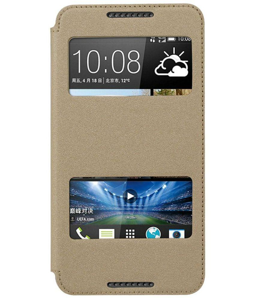 new arrival 4b7e5 7f96f HTC Desire 816G Dual Sim Flip Cover by Ziaon - Golden