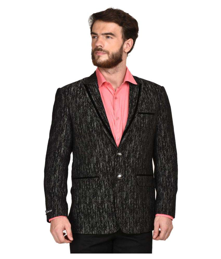 La Mode Black Printed Formal Blazers