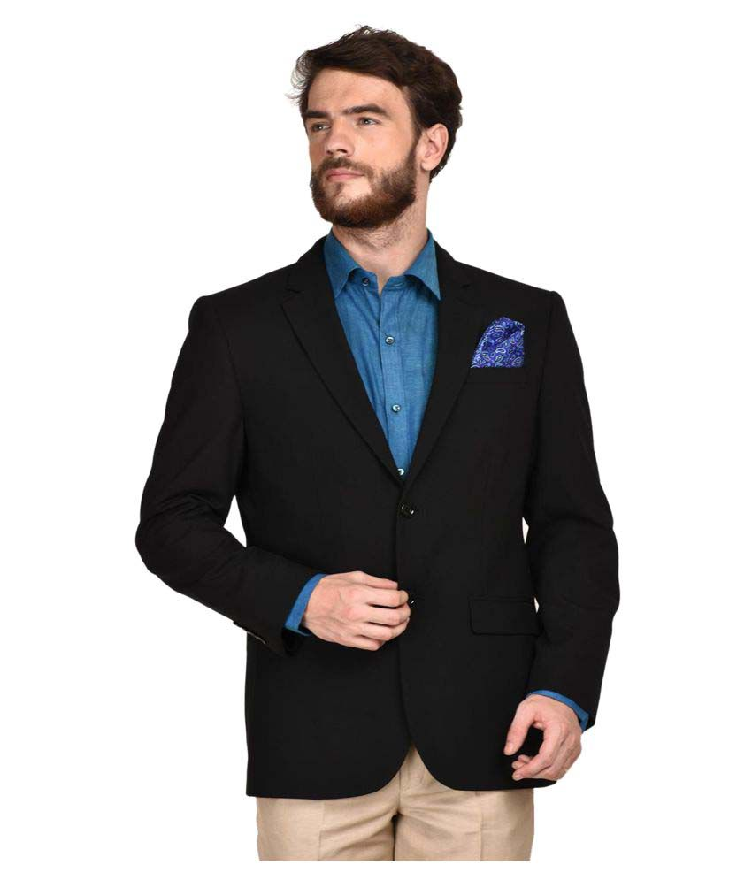 La Mode Black Solid Formal Blazers