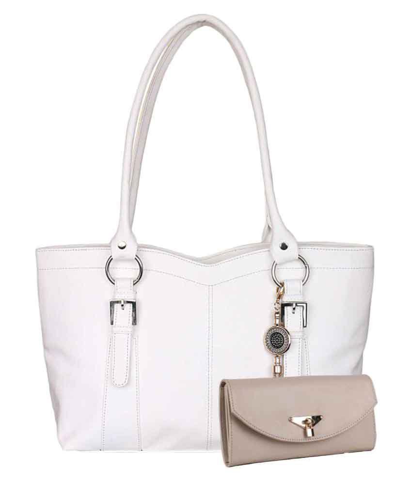 Women marks White Faux Leather Shoulder Bag