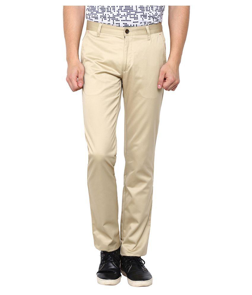 Arrow Sports Khaki Slim Flat Trouser