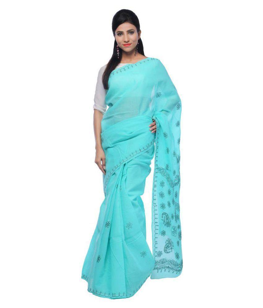BDS Chikan Blue Cotton Saree