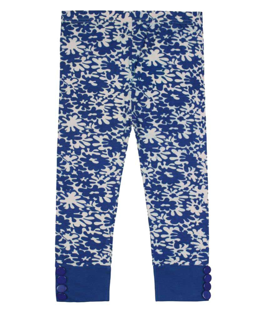 Jazzup Blue Cotton Blend Printed Capris