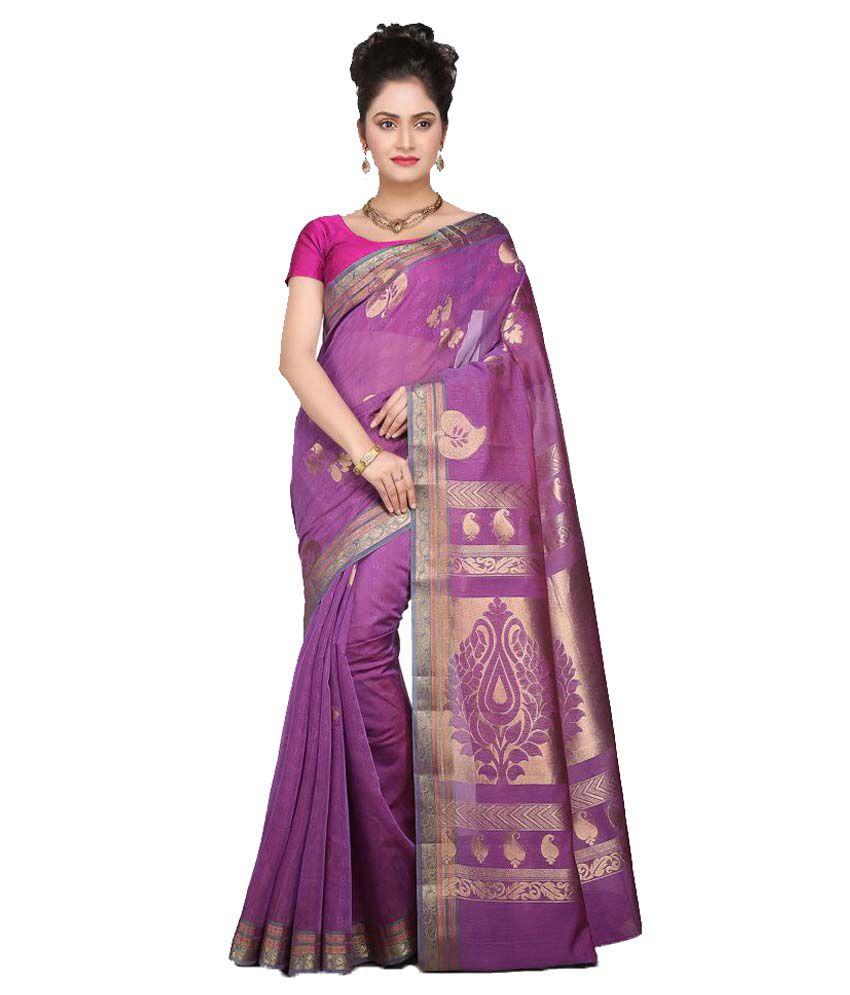 Platinaa Purple Cotton Silk Saree