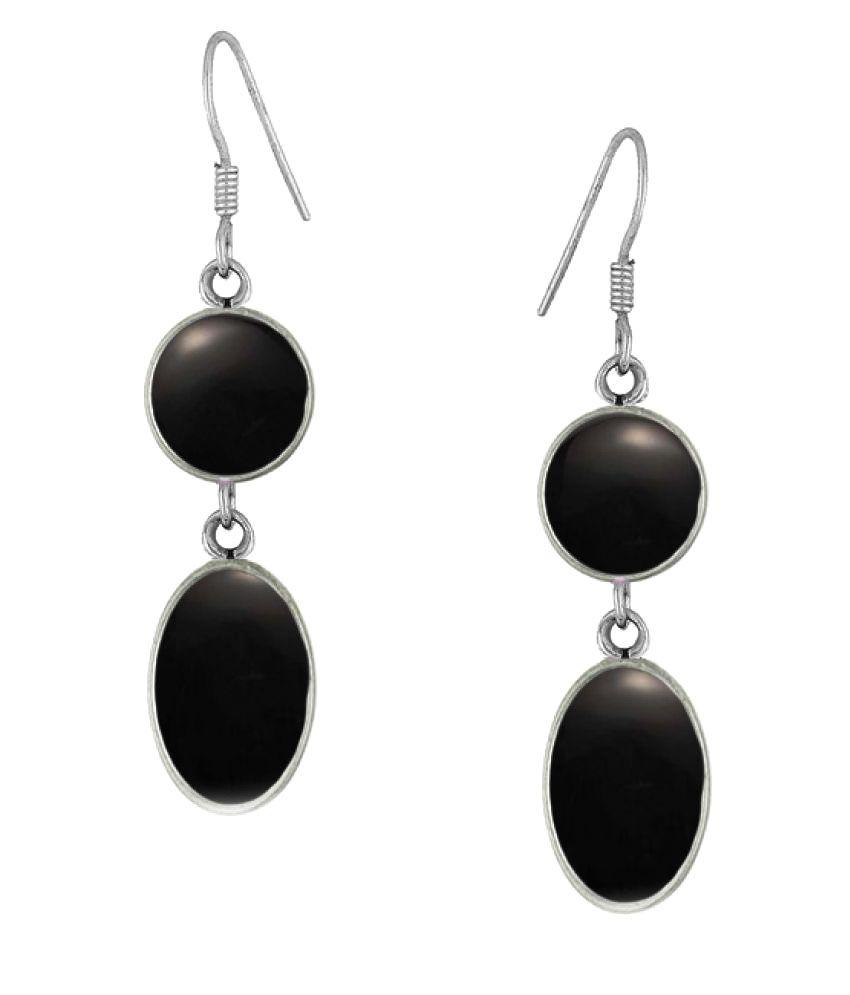 PeenZone 92.5 Silver Onyx Drop Earrings
