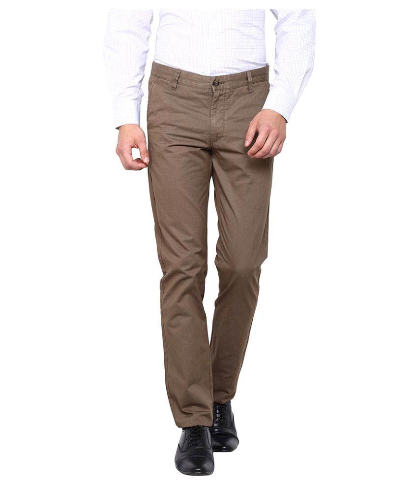 Arrow Sports Dark Brown Regular Flat Trouser