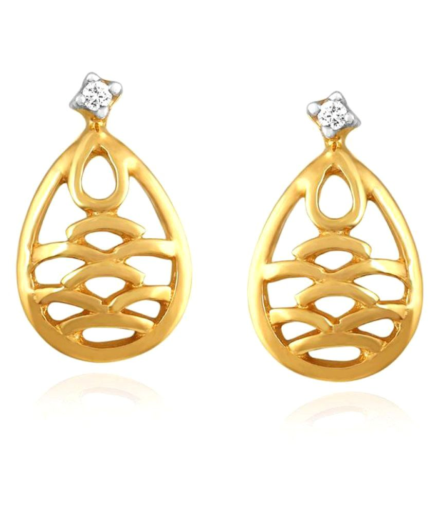 Gili 18k BIS Hallmarked Yellow Gold Diamond Drop Earrings