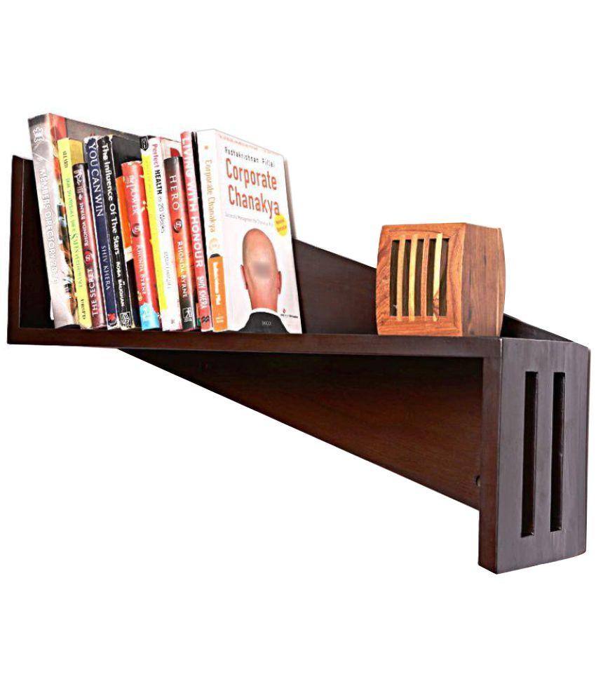 Curve Wood Floating Shelf Wall Storage Decoration Brown Single