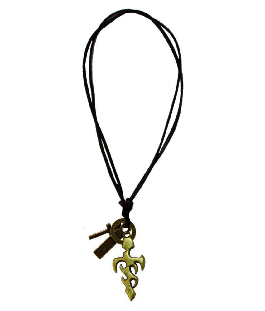 Men Style Golden Pendant with Leather Chain