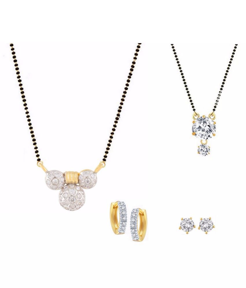 Archi Collection White Alloy Cubiz Zirconia Mangalsutra Set - Pack of 2
