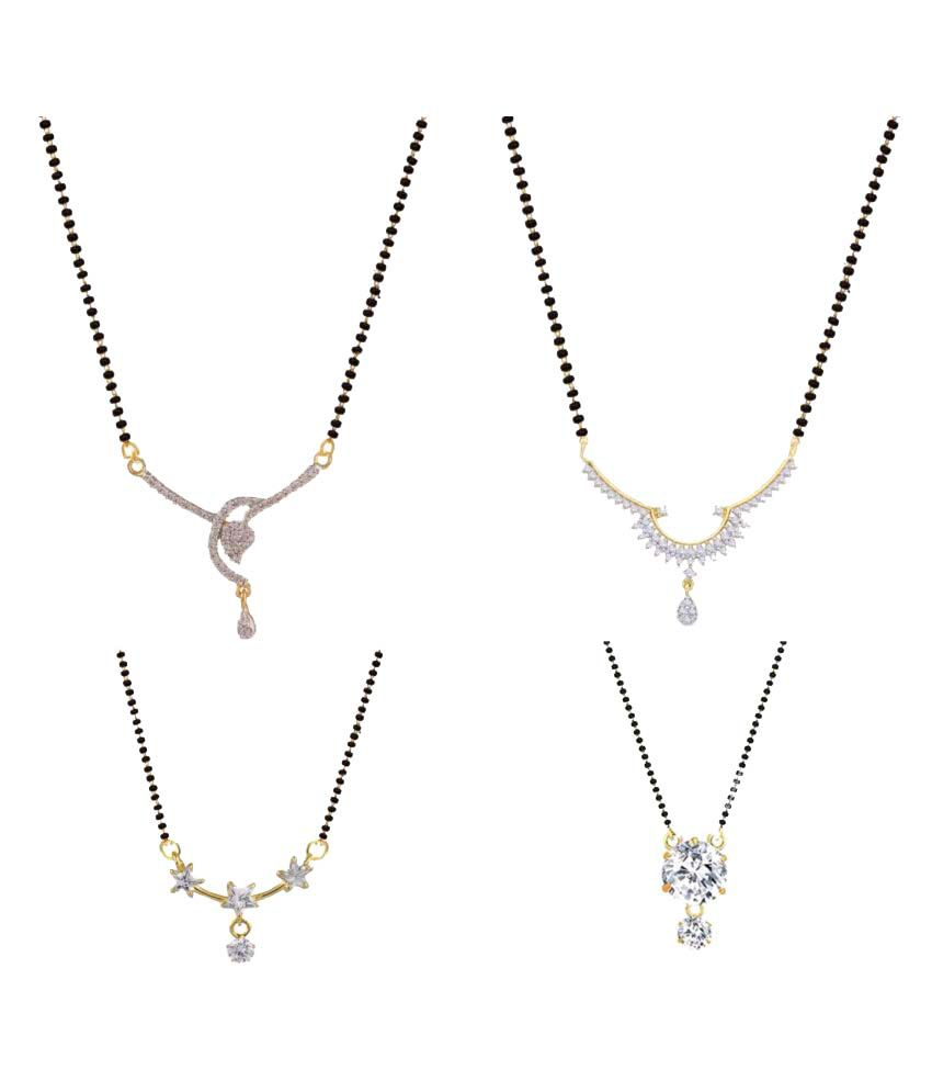 Archi Collection Silver Mangalsutra - Pack of 4