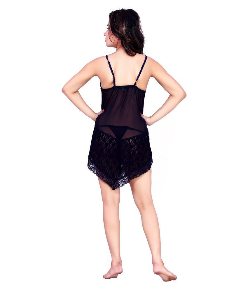 Buy Choosy Cheery Navy Lycra Silk 2 Piece Lingerie Set For Women ... c1470f40d