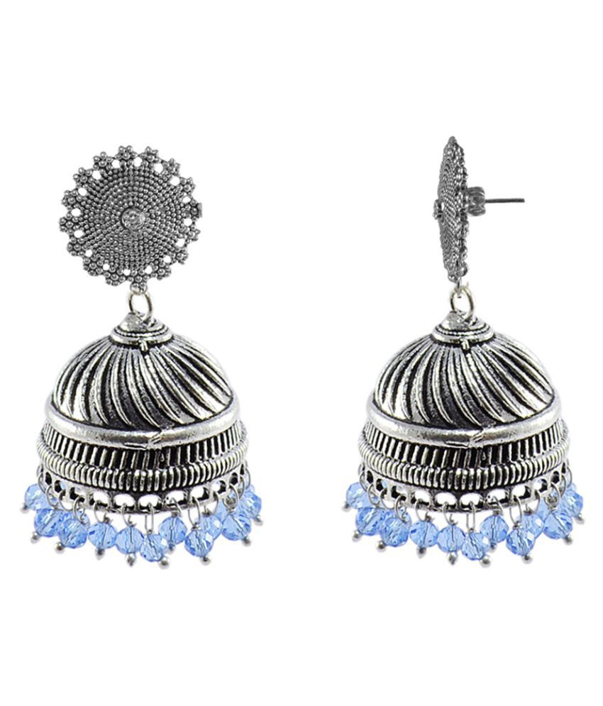Silvesto India Silver Alloy Jhumki Earrings