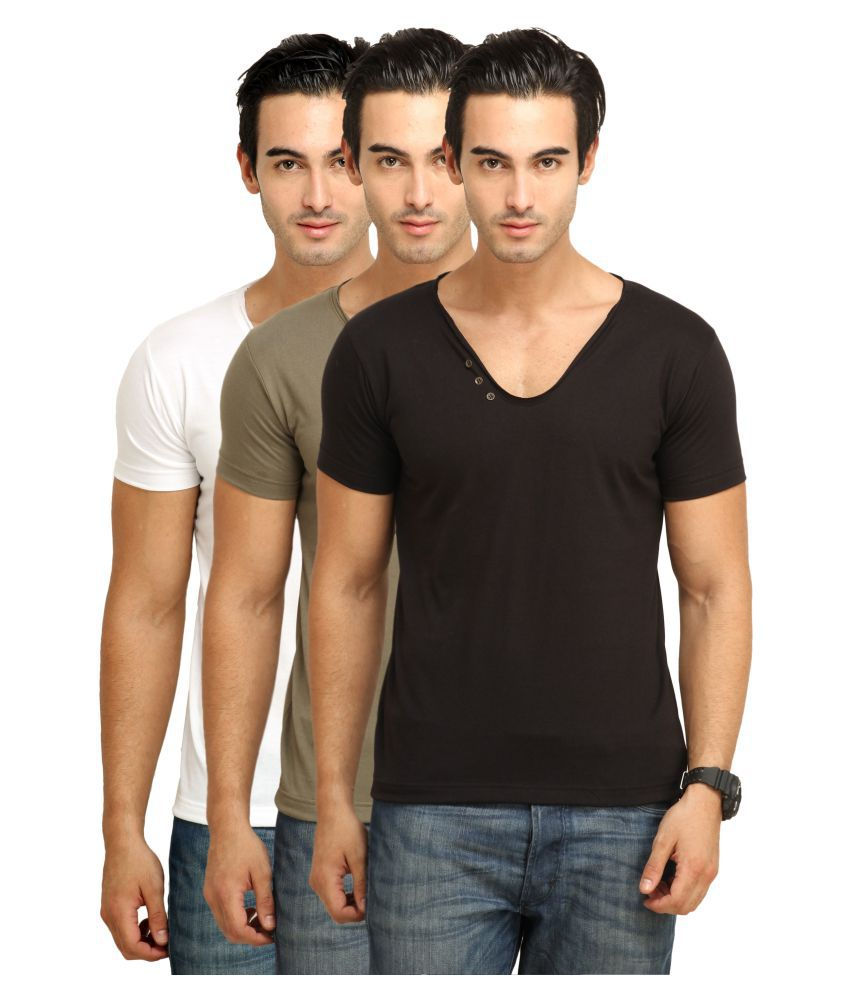 Fio Multi V-Neck T-Shirt Pack of 3