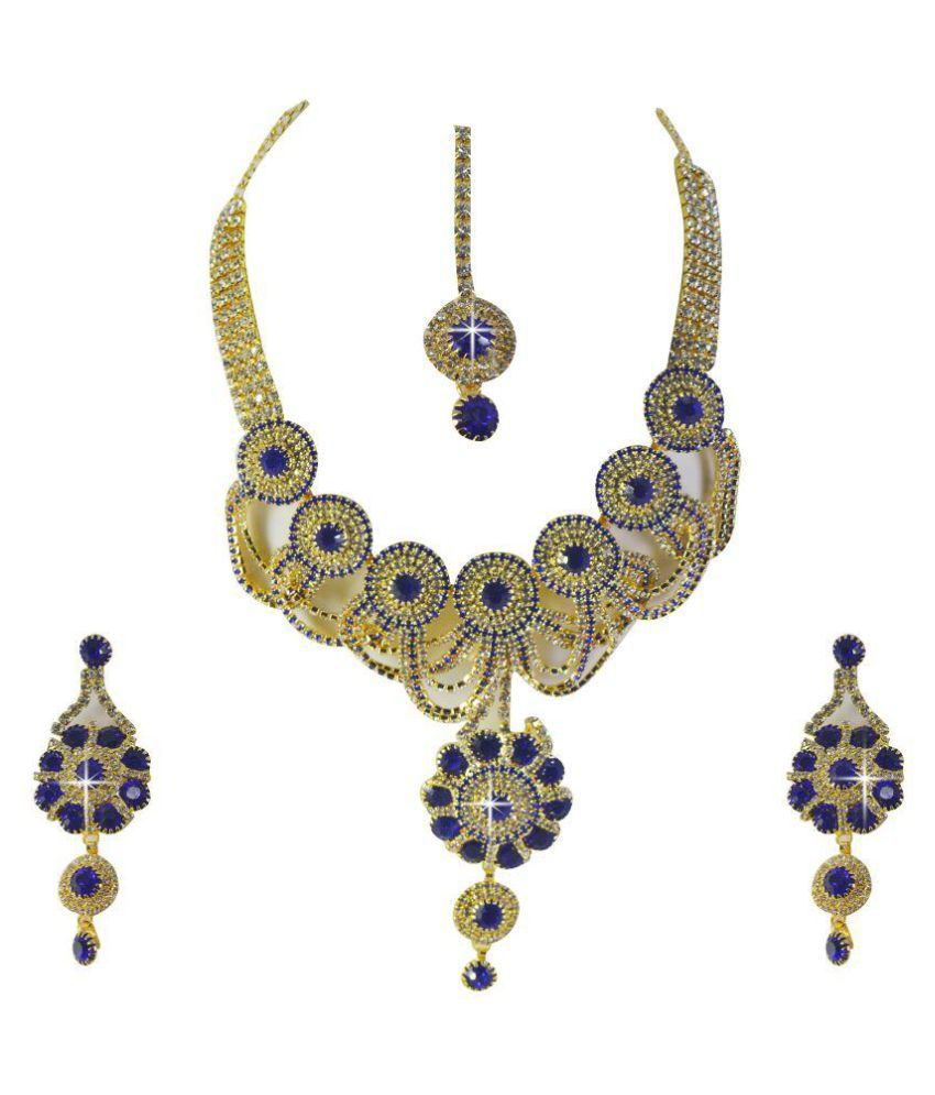 Tornadoes Multi Color Necklace Set with Maang Tika
