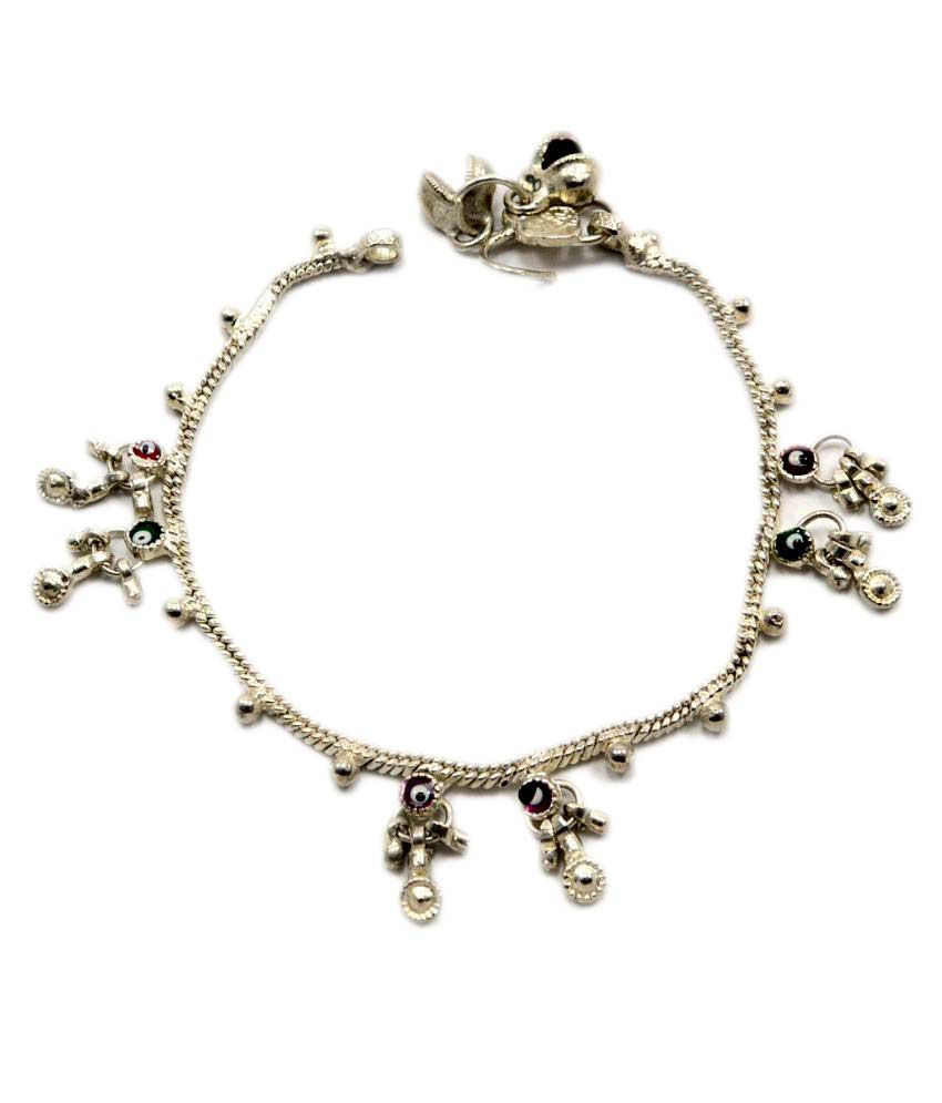 Silvesto India 925 Silver Plated Child Single Piece Anklet PG 3757