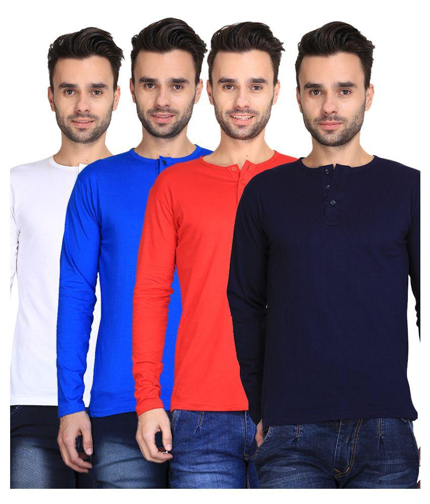 Van Galis Multi Henley T-Shirt Pack of 4