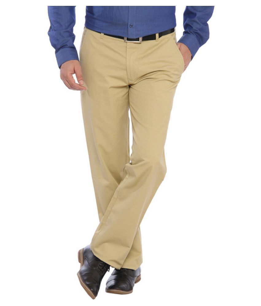 Colorplus Beige Regular Flat Trouser