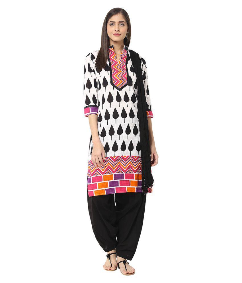 Jaipur Kurti Multicoloured Cotton Straight Stitched Suit