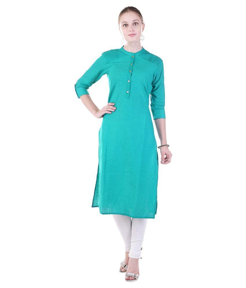 Fab Rajasthan Green Cotton Straight Kurti