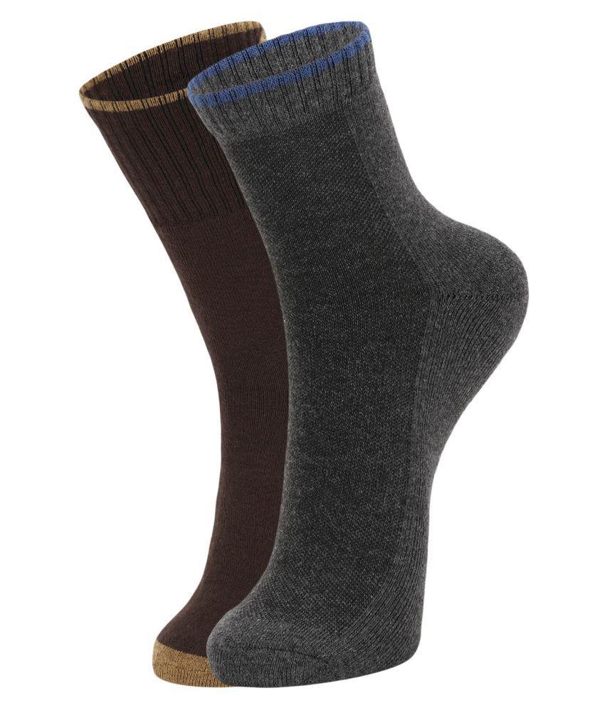 Dukk Brown Casual Mid Length Socks