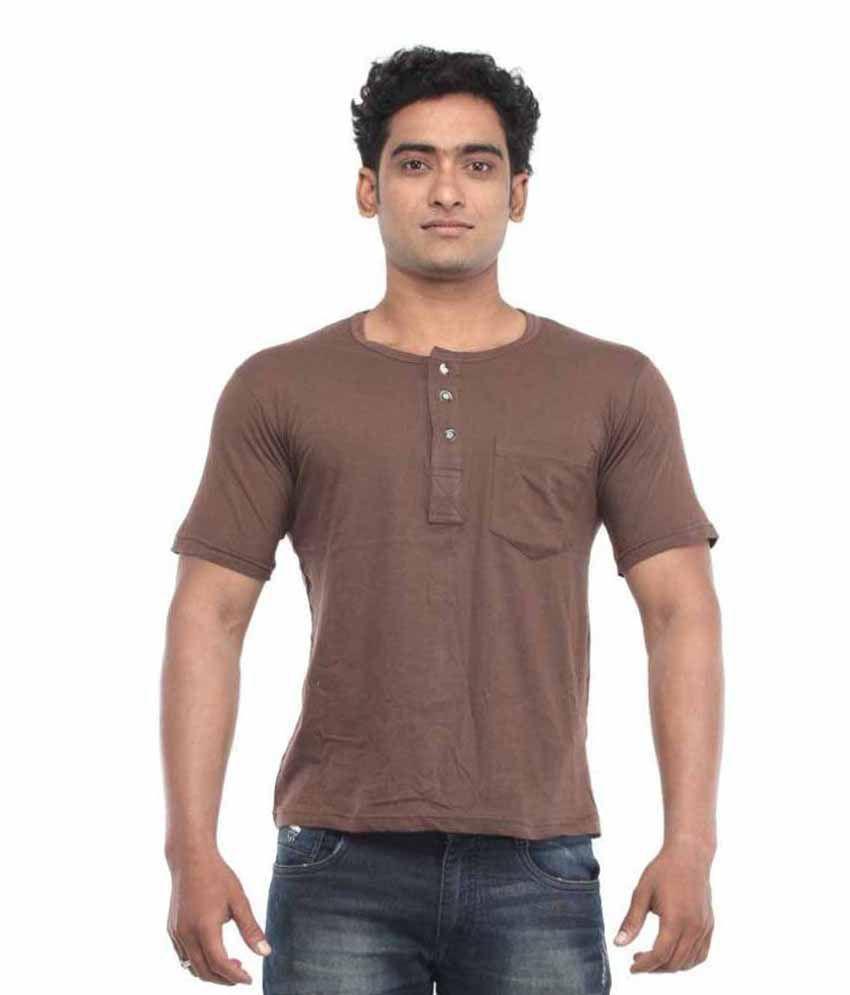 Nawab Brown Henley T-Shirt