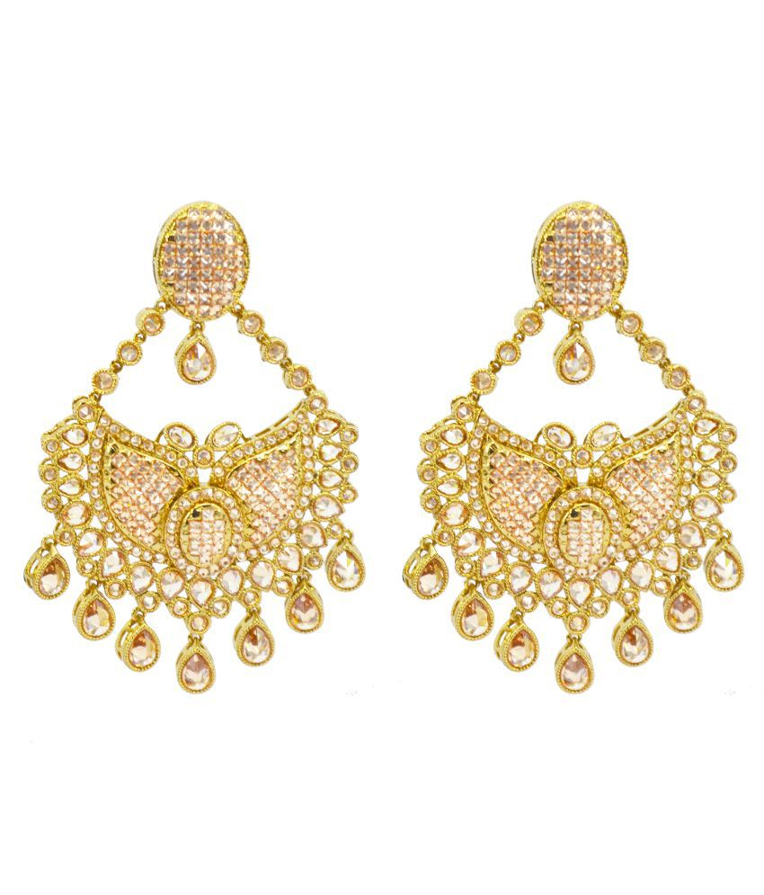 Saloni Fashion Jewellery Golden Brass Hanging Earrings