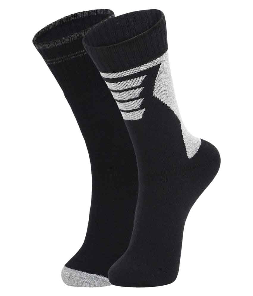 DUKK Black Casual Mid Length Socks