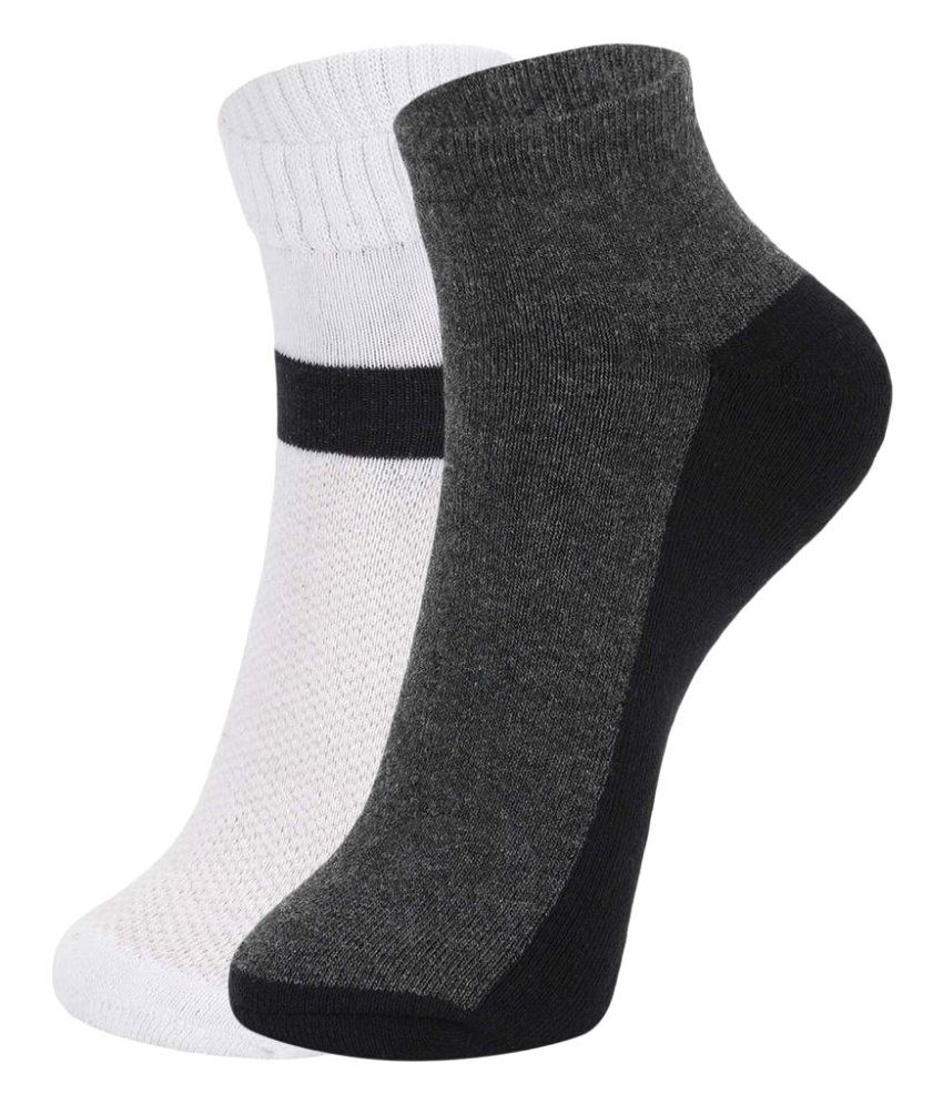 DUKK White Casual Ankle Length Socks