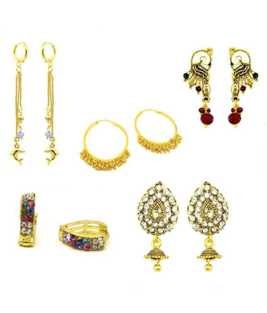 GoldNera Golden Colour Traditional Earing Combo - Set Of 5