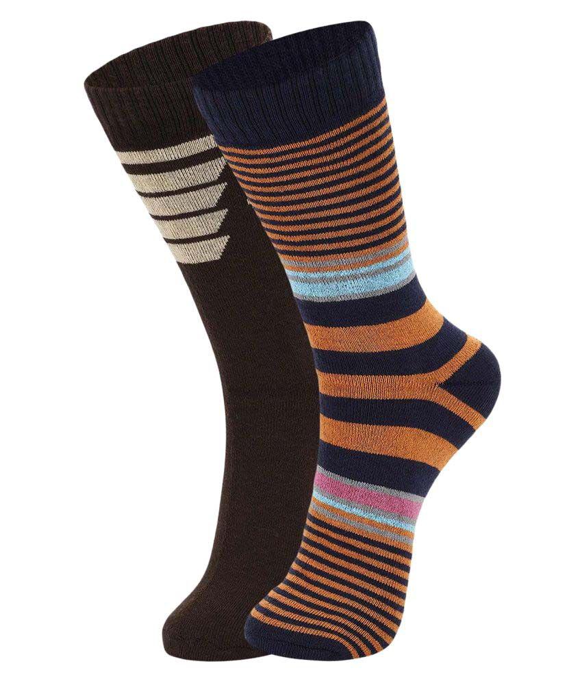 Dukk Brown Casual Full Length Socks