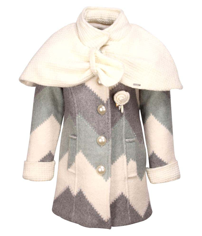 Cutecumber Gray Acrylic Partywear Winter Girls Jackets
