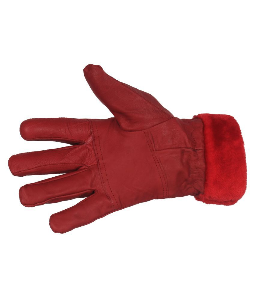 Indian Fashion Genuine Leather Women Gloves-Red