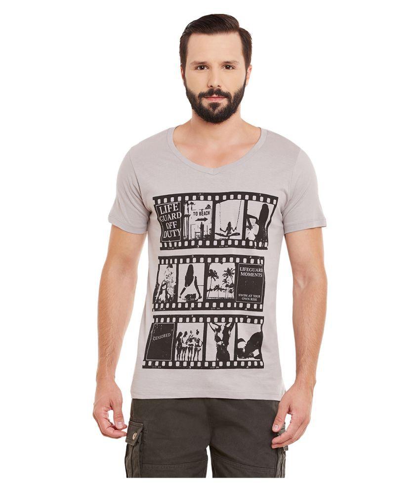 Yepme Grey V-Neck T-Shirt